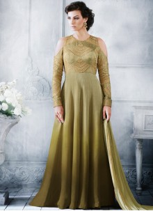 Blissful Handloom silk Green Resham Work Floor Length Anarkali Suit