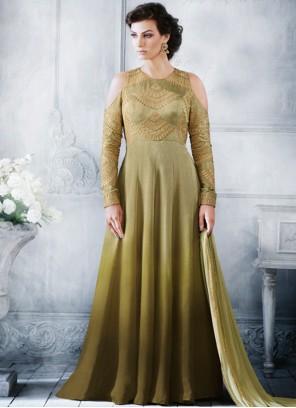 Blissful Handloom silk Green Resham Work Floor Length Anarkali Suit