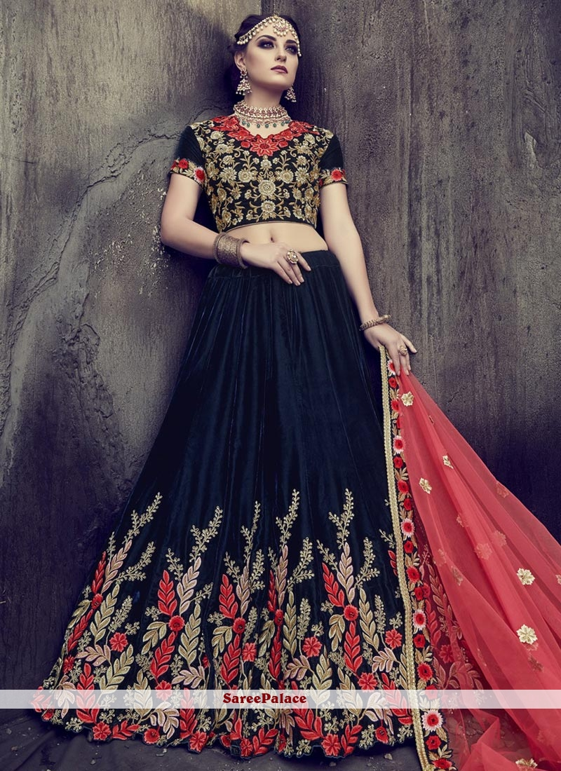 Blissful Lace Work Navy Blue Lehenga Choli