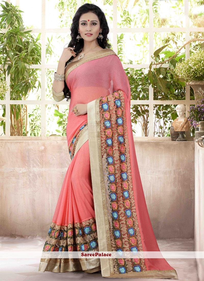 Blissful Pink Embroidered Work Faux Georgette Designer Saree
