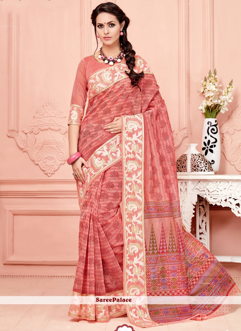 Blissful Pink Print Work Cotton   Casual Saree
