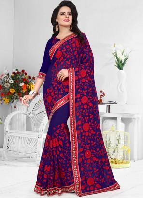 Blissful Resham Work Blue Classic Designer Saree
