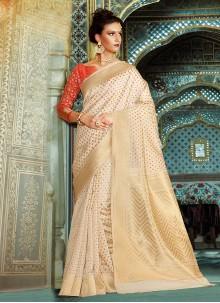 Blissful Weaving Work Cream Designer Traditional Saree