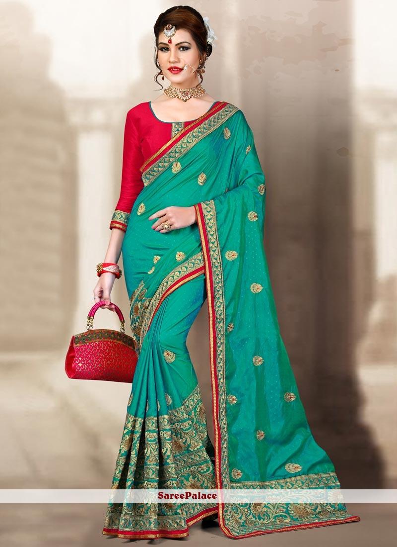 Blissful Zari Work Sea Green Designer Traditional Saree