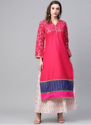 Block Print Cotton Designer Kurti in Pink