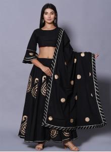 Block Print Cotton Lehenga Choli in Black