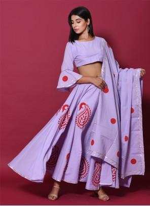 Block Print Cotton Purple Lehenga Choli