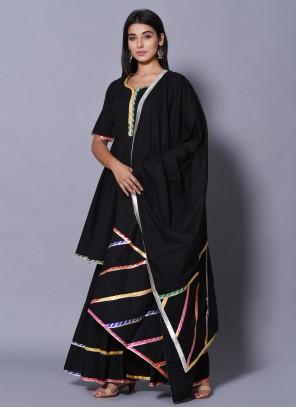Block Print Black Cotton Salwar Suit