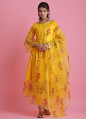 Block Print Fancy Fabric Yellow Readymade Suit