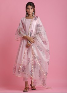Block Print Festival Pink Readymade Suit