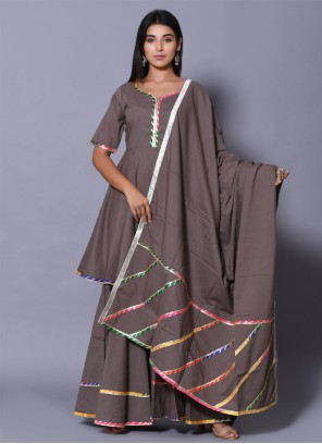 Block Print Grey Cotton Readymade Salwar Kameez