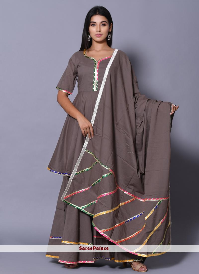 Block Print Grey Cotton Readymade Salwar Kameez