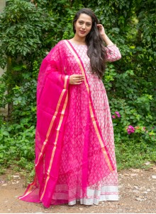 Block Print Off White and Pink Linen Readymade Suit