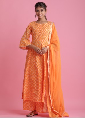 Block Print Orange Cotton Readymade Suit