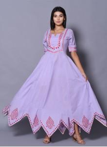 Block Print Lavender Designer Gown