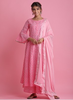 Block Print Pink Readymade Suit