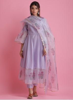 Block Print Purple Readymade Suit
