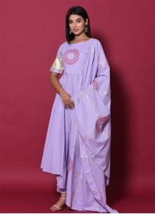 Block Print Lavender Salwar Suit
