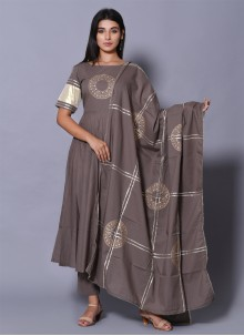 Block Grey Print Salwar Suit
