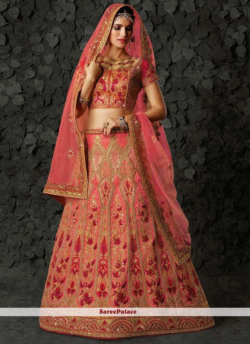 73943aef0d Buy Blooming Zari Work Pink Art Silk Lehenga Choli Online