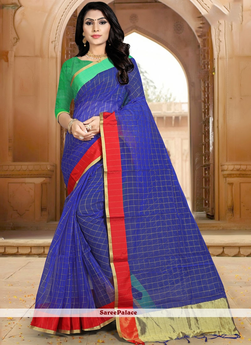 Blue Abstract Print Casual Casual Saree