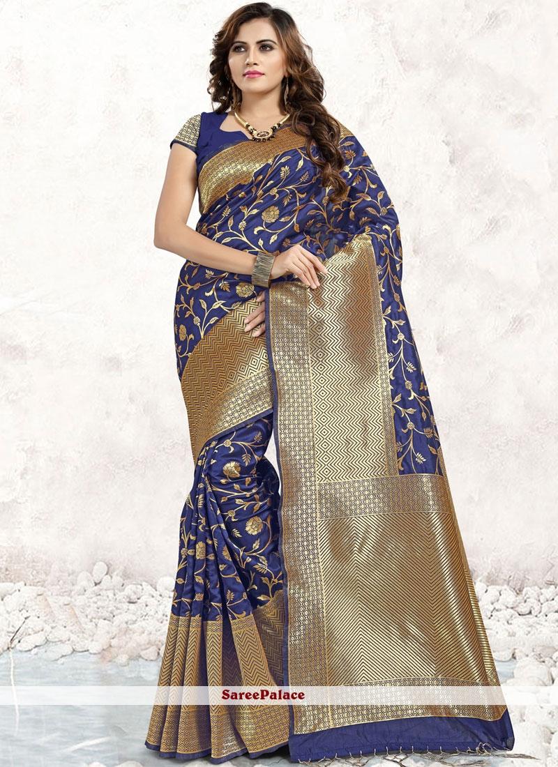 Blue Abstract Print Classic Saree