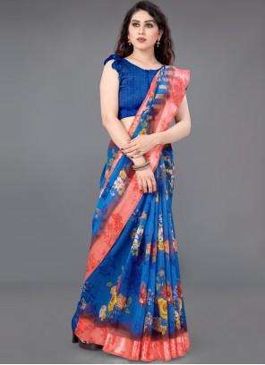 Blue Abstract Print Cotton Saree