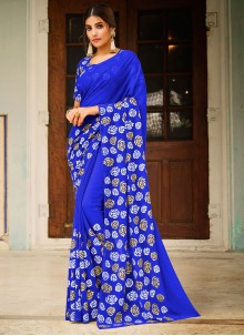 Blue Abstract Print Faux Georgette Saree