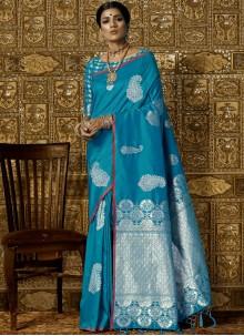Blue Abstract Print Work Silk Trendy Saree