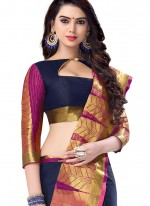 Blue Abstract Print Work Traditional  Saree