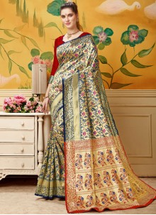 Blue and Cream Casual Designer Traditional Saree