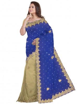Blue and Cream Color Designer Half N Half Saree