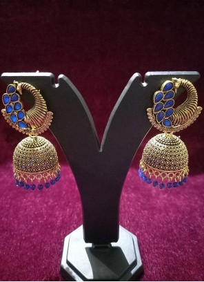 Blue and Gold Oxidised Plating Ear Rings