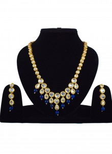 Blue and Gold Reception Necklace Set