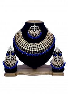 Blue and Gold Sangeet Necklace Set