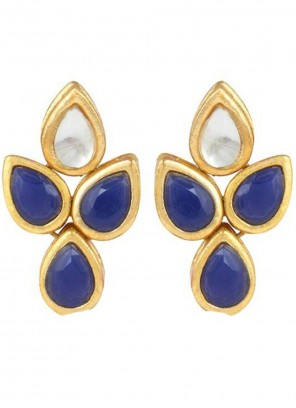 Blue and Gold Stone Work Ceremonial Ear Rings
