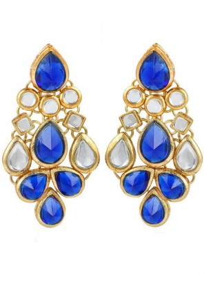 Blue and Gold Stone Work Ear Rings