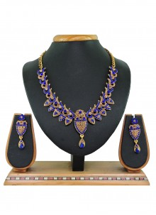 Blue and Gold Stone Work Necklace Set