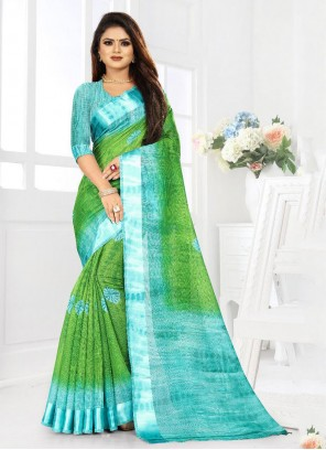 Blue and Green Color Saree