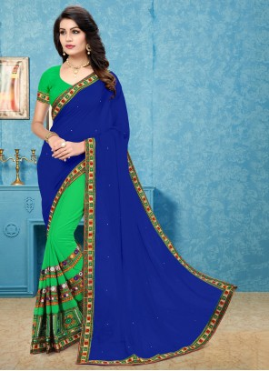 Blue and Green Embroidered Festival Half N Half Trendy Saree