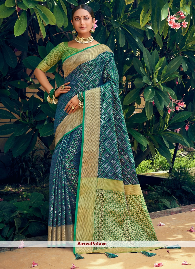 Blue and Green Engagement Traditional Saree