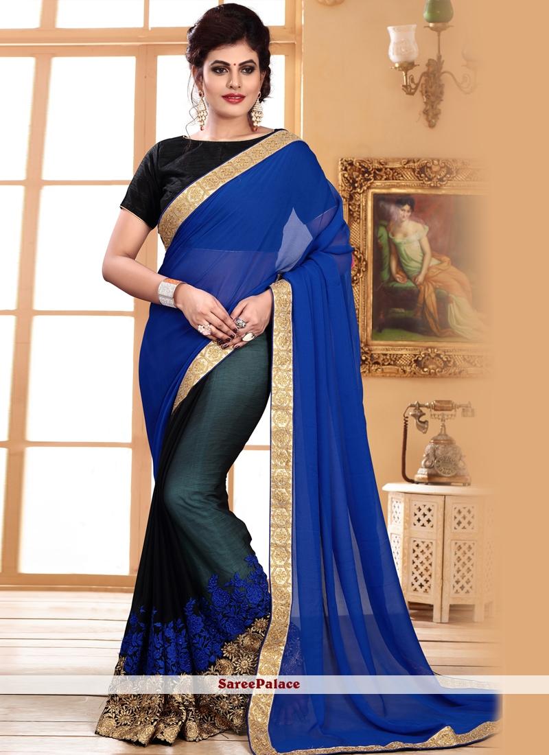 Blue and Green Festival Half N Half Designer Saree