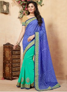 Blue and Green Net Half N Half  Saree