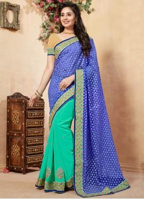 Blue and Green Net Half N Half  Saree