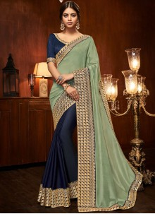 Blue and Green Patch Border Half N Half  Saree