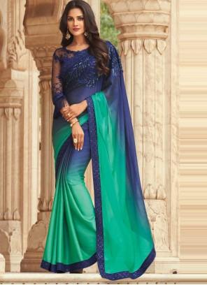 Blue and Green Silk Shaded Saree