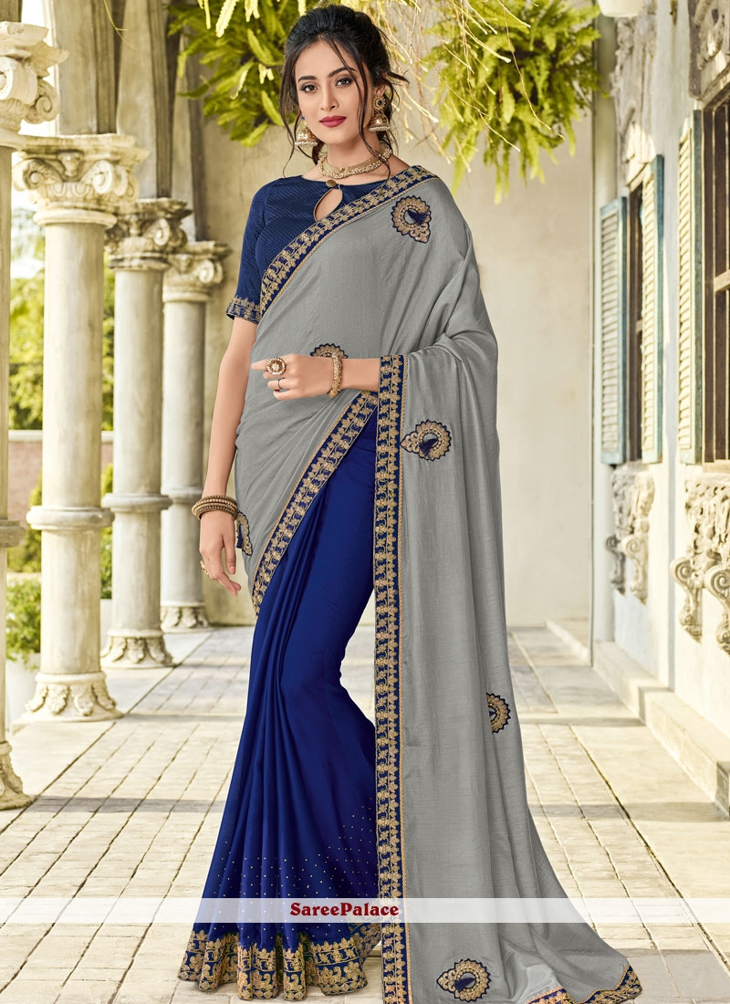 Blue and Grey Embroidered Designer Half N Half Saree