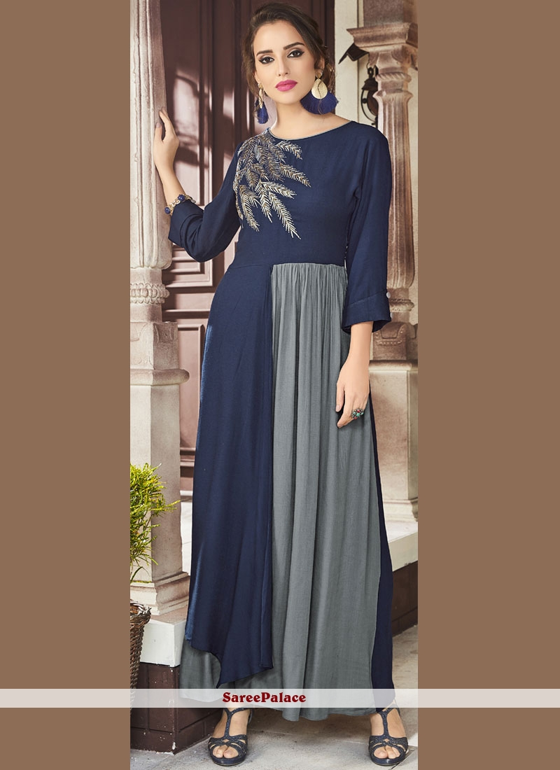 Blue and Grey Embroidered Party Wear Kurti