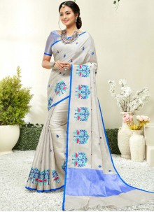 Blue and Grey Fancy Fabric Trendy Saree