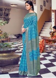 Blue and Grey Reception Traditional Saree